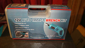 """Compact Impact Wrench Kit 12V DC Electric 1/2"""" Tool Driver Ring Sockets Car Lug"""