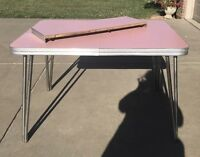 Vintage Chrome and Pink Formica Table With Leaf & 4 Green & 4 White Chairs