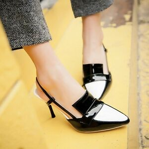 New-Fashion-Women-039-s-Sexy-Pointed-Toe-Slingback-Stilettos-High-Heels-Pumps-Shoes