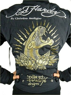 NEW ED HARDY CHRISTIAN AUDIGIER WOMEN'S PREMIUM JACKET BLACK PANTHER SIZE S