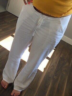 BNWT NEXT White Linen Blend Maternity Crop Trousers 10