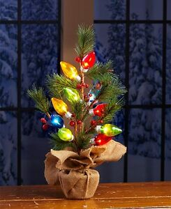 Christmas Decorations Holiday Lighted Tabletop Tree Multi