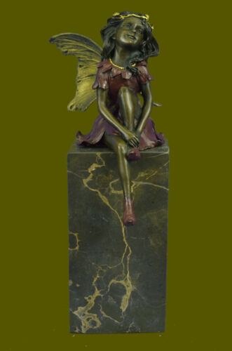LOPEZ SCULPTURE BEAUTIFUL FRENCH FIGURAL BRONZE OF FAIRY GIRL NYMPH SIGNED BY M