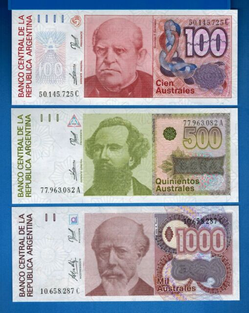 Argentina 100, 500, 1000 Australes nd 1988-1990 Uncirculated Set # 5