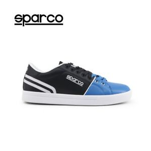 NEW-Sparco-Vivaro-Mens-Blue-Black-Leather-Sneakers-Sport-Casual-Shoes