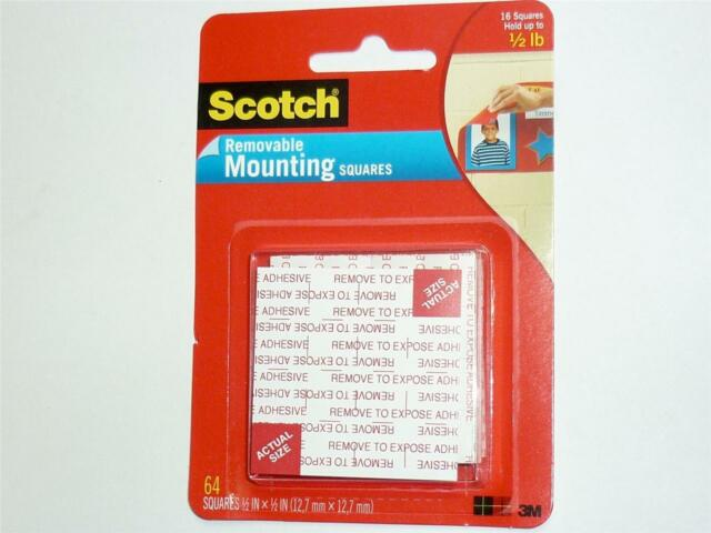 3M Scotch Mounting Squares Removable 12.7x12.7mm pack 64 up to 225g 108-SML