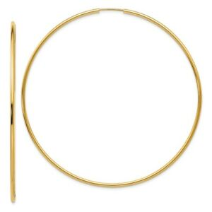 2 mm Polished Oval Hoop Earrings in Genuine 14k Rose Gold 20 to 30mm