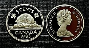 Canada-1983-Proof-Gem-UNC-Five-Cent-Nickel