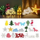 Various shapes 3D Marquee 8 LED Lamp Warm White Night Light Xmas Romantic Decor