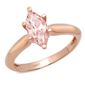 1.0 ct Marquise Cut Pink Stone Wedding Bridal Promise Ring 14k Rose...