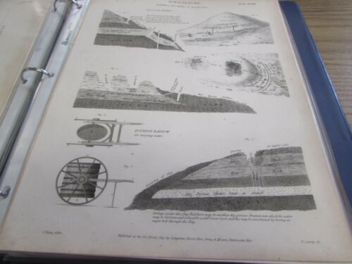 1819 AGRICULTURE QUARRIES, PITS, MINES & DRAINING THEM PRINT 1819 LOT 6