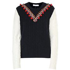 ALTUZARRA $1,125 navy wool cashmere cable knit jumper banjara mirror sweater L