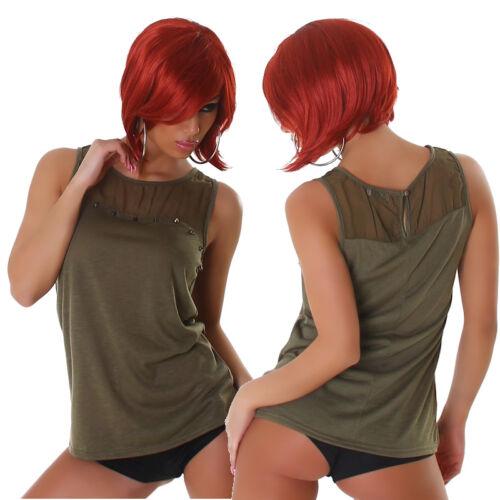 Damen Shirt Bluse Tunika Flammgarn-Optik Nieten Ärmellos 36 38 40 S M