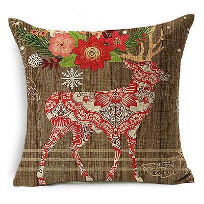 Christmas Gift Cotton Linen Pillow Case Sofa Throw Cushion Cover Home Decor