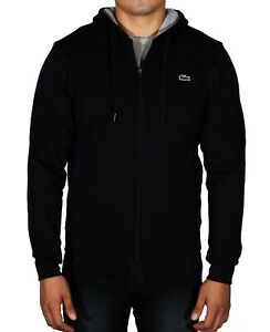 New-Lacoste-Men-039-s-Sport-Hoodie-Fleece-Tennis-Sweatshirt-Full-Zip-SH7609-Black