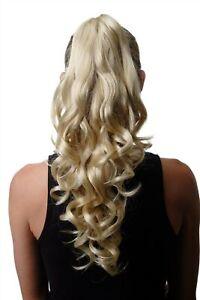 Postiche-Queue-Tresse-Boucle-Boucles-Long-50cm-Plus-Lumineux-Blonde-Melange-SA09