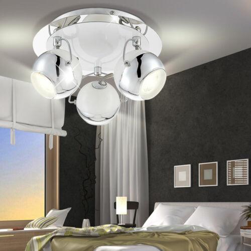 LED Decken Wand Spot Strahler Retro Chrom Kugel Leuchte beweglich Wohn Zimmer