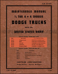 1941 1947 Dodge Wc Half Ton Army Truck Shop Manual 4x4 Repair