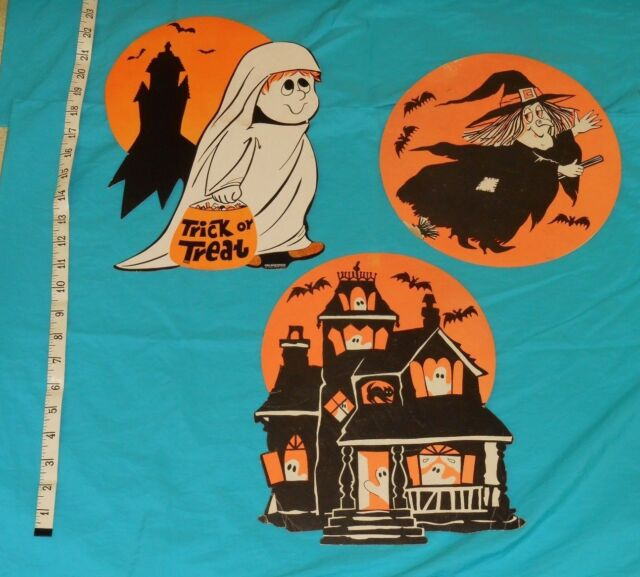 Vintage Halloween DECORATIONS Lot X3 Haunted House, Witch