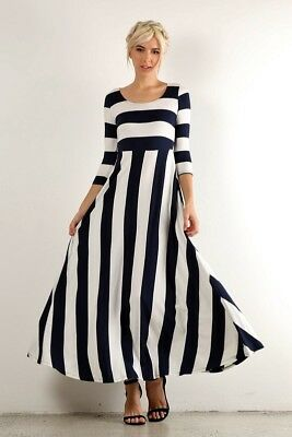 PLUS SIZE NAUTICAL NAVY BLUE & WHITE STRIPED LONG MAXI BOHO DRESS ...