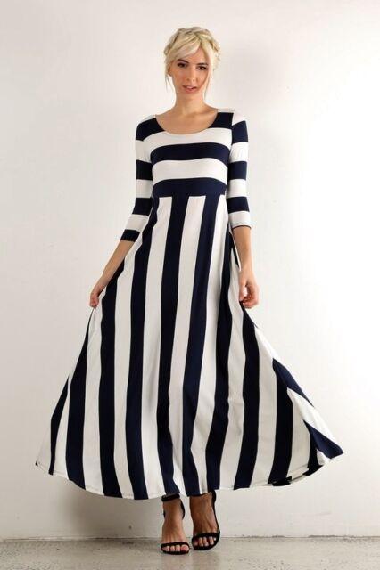 PLUS SIZE NAUTICAL NAVY BLUE & WHITE STRIPED LONG MAXI BOHO DRESS USA 1X 2X  3X