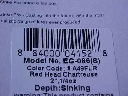 Strike Pro FAT BAT Ice//Open Water Jig EG-086#A49FLR GLOW RED HEAD CHARTREUSE