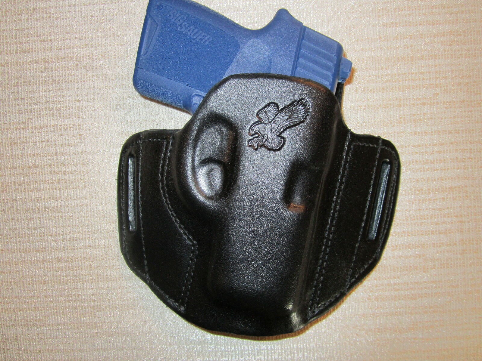 Fits SIG P290 - 9mm, LEATHER PANCAKE HOLSTER, OWB BELT HOLSTER, RIGHT HAND