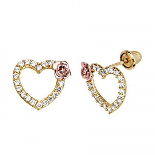 14K Yellow Gold Diamond Heart Rose Stud Earring Screw Back 1 gram 8.7MM