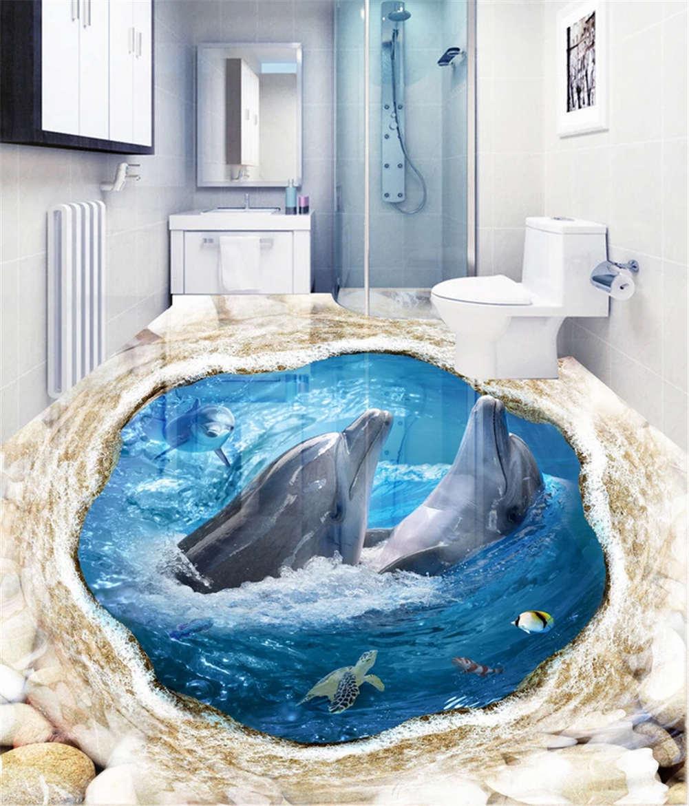 Quiet Sound Ocean 3D Floor Mural Photo Flooring Wallpaper Home Print Decoration