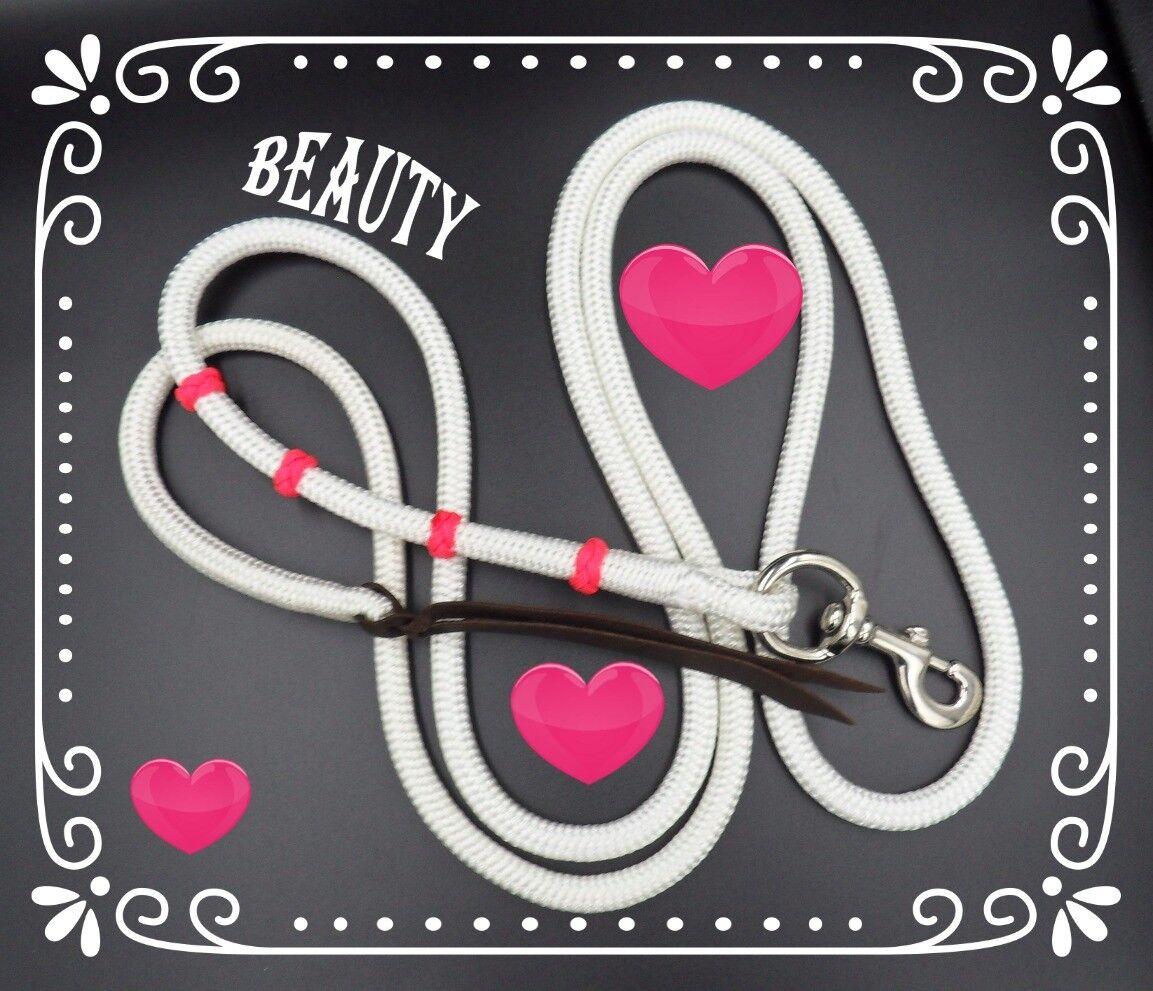 Natural Horsemanship 12ft lead line rope adorned with pink ranger beads