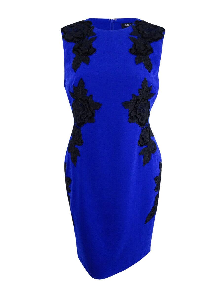 Tahari ASL Woherren Floral Applique Sheath Dress (18, Iris schwarz)