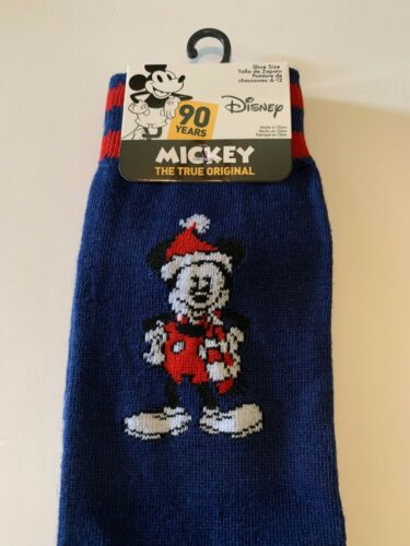 New Disney Men/'s Dress Casual Novelty Crew Socks Christmas Mickey Santa Hat Red