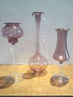 3 Vasen-Blumenvasen-Krüge-Lauschaer Glas-Lila-mundgeblasen-handgeformt