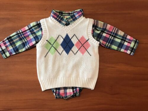 Gymboree Boys Argyle Sweater Vest w// Plaid One Piece 6-12 Mths NWT GYMB4