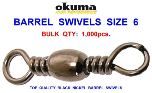 BULK OKUMA 1000 BARREL SWIVELS SIZE 6 SEA COARSE FISHING LINE BRAID RIG LINKS