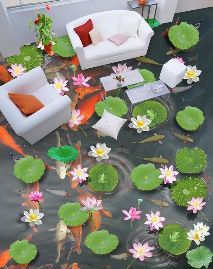 Agua de flores de peces 3D 864 Papel Pintado Mural Parojo Calcomanía de impresión de piso 5D AJ Wallpaper