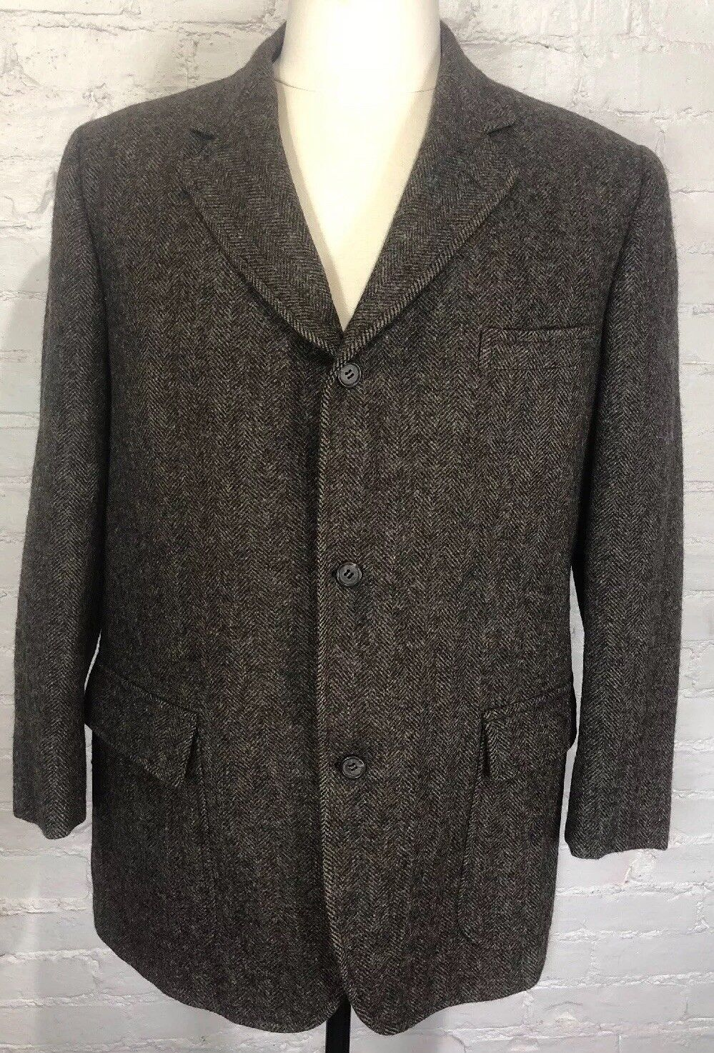 BROOKS BROTHERS Makers Blazer 43R Braun Tweed Sport Coat Wool Herringbone