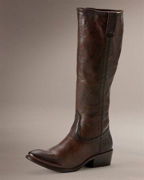 Women's Women's Women's Frye Boots Carson Zip Tall Dark Brown Antique Vintage leather 76157 DBN 2946b8