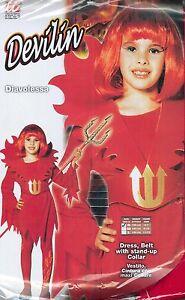 Vestito-Abito-Costume-Carnevale-DIAVOLESSA-BAMBINA-DEVILIN-5-7ANNI-TG-S