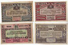 4 verschiedene Lotterielose 1929 Ceskoslovenska Tridni Loterie