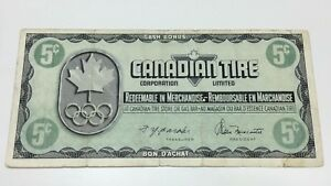 1976-Canadian-Tire-5-Five-Cents-CTC-S5-B-Circulated-Olympic-Money-Banknote-E057