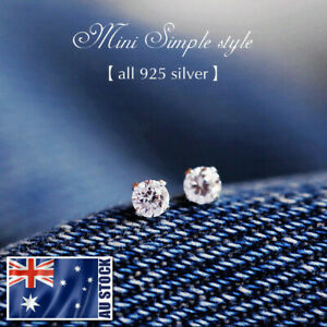 925-Sterling-Silver-4MM-Simulated-Diamond-Stud-Earrings-Piercing-Mens-amp-Womens