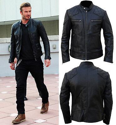 79da3eba0 Men's David Beckham Real Leather Biker Inspired Black Leather Motorcycle  Jacket | eBay