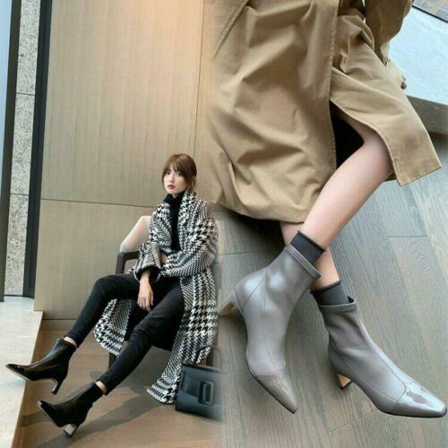 Womens Fashion Leather Two Tone Mid Heel Pull On Bootie Ankle Boots Shoes CHEN