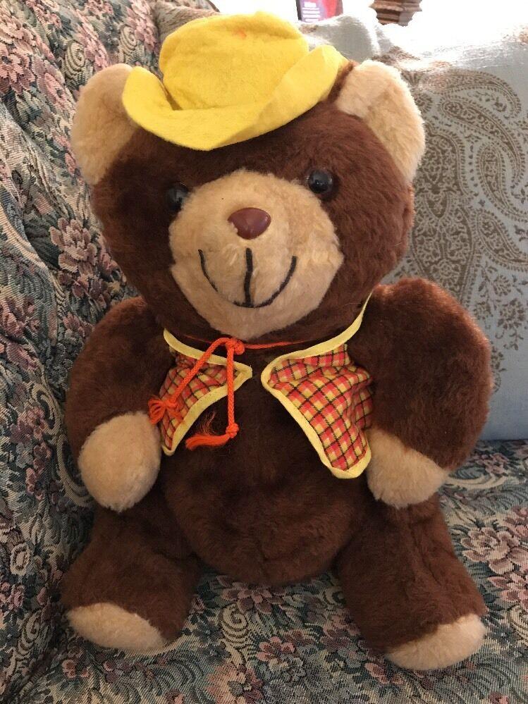 Rare Vtg Commonwealth Cowboy Bear Plush  15  Zipper Yellow orange Vest Hat  H3