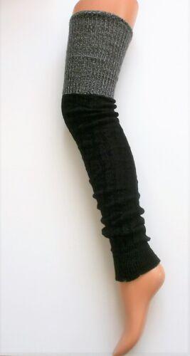 EXTRA LONG THIGH BLACK GREY SILVER LUREX TOP LEGWARMERS LEG WARMER DANCE 76cm