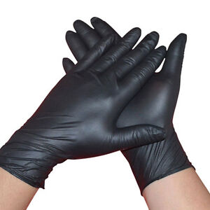 Comfortable-1-100Pc-Rubber-Disposable-Mechanic-Nitrile-Gloves-Black-Medical-Exam