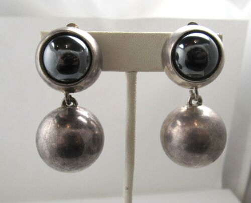 925 Sterling Silver Vintage Simon Sebbag Real Pearl Puffy Clip On Earrings