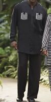 Mens Ashro Black & White 2 Piece Tye Pant Set Size Medium Waist 34