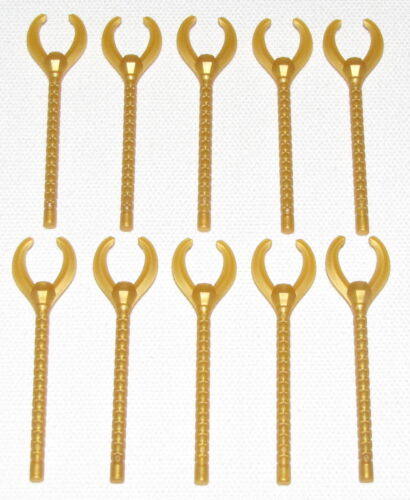 LEGO LOT OF 10 NEW PEARL GOLD MINIFIGURE STAFFS WEAPONS PIECES PARTS